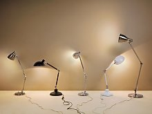 Desk Lamp White Metal 80H cm Adjustable Arm Table