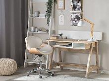 Desk Light Wood 110 x 60 cm 2 Shelves Footrest