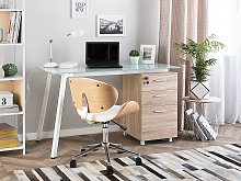 Desk Light Wood Veneer 130 x 60 cm Glass Tabletop