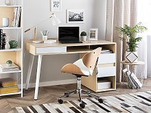 Desk Light Wood Veneer Top 130 x 60 cm White Metal