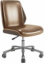 Desk Operator Chair Brown PU Leather in Retro