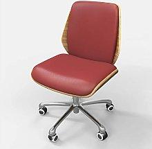 Desk Operator Chair Dark Red PU Leather in Retro