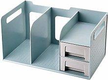 Desk Shelves Office Desktop Bookshelf with 2