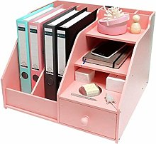 Desk Shelves Office Desktop Bookshelf with Drawer