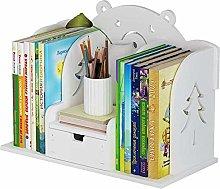 Desk Shelves Wood Desktop Bookshelf with Drawer