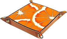 Desk Storage Valet Tray ,Leather Foldable Tray