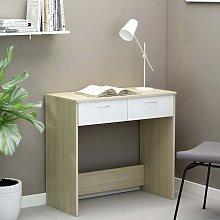 Desk White and Sonoma Oak 80x40x75 cm Chipboard -