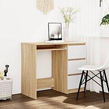 Desk White and Sonoma Oak 90x45x76 cm Chipboard -