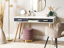 Desk White Grey 120 x 45 cm 2 Drawers Shelf Solid