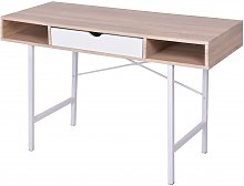Desk with 1 Drawer Oak and White