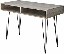 Desk with 2 Compartments Grey - Hommoo