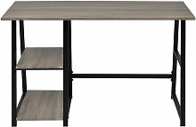 Desk with 2 Shelves Grey and Oak QAH07444 - Hommoo