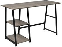 Desk with 2 Shelves Grey and Oak VD07444 - Hommoo