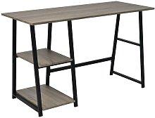 Desk with 2 Shelves Grey and Oak VDTD07444 -