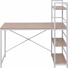 Desk with 4-Tier Bookcase Oak QAH07441 - Hommoo
