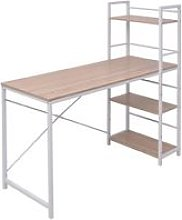 Desk with 4-Tier Bookcase Oak VD07441 - Hommoo