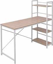 Desk with 4-Tier Bookcase Oak VDTD07441 - Topdeal