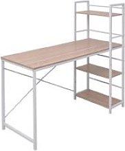 Desk with 4-Tier Bookcase Oak