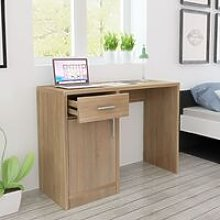 Desk with Drawer and Cabinet Oak 100x40x73 cm -