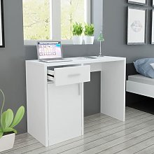 Desk with Drawer and Cabinet White 100x40x73