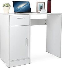 Desk with drawer, modern office table, computer