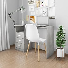 Desk with Drawers Concrete Grey 110x50x76 cm