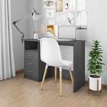 Desk with Drawers Grey 110x50x76 cm Chipboard