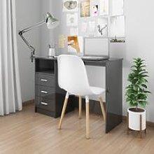 Desk with Drawers High Gloss Black 110x50x76 cm