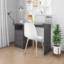 Desk with Drawers High Gloss Grey 110x50x76 cm