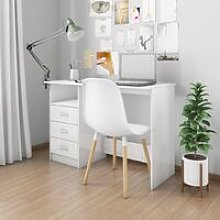 Desk with Drawers High Gloss White 110x50x76 cm