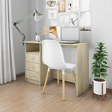 Desk with Drawers Sonoma Oak 110x50x76 cm Chipboard