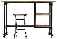 Desk with Folding Stool Solid Mango Wood 115x50x76