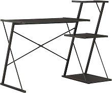 Desk with Shelf 116x50x93 cm Black - Black - Vidaxl