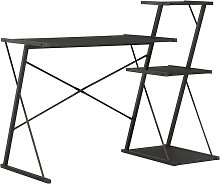 Desk with Shelf Black 116x50x93 cm VD07579 - Hommoo