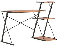 Desk with Shelf Black and Brown 116x50x93 cm -