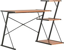 Desk with Shelf Black and Brown 116x50x93 cm