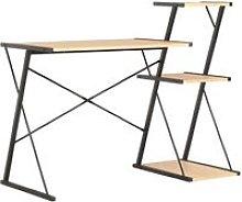 Desk with Shelf Black and Oak 116x50x93 cm - Black