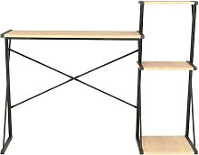 Desk with Shelf Black and Oak 116x50x93 cm