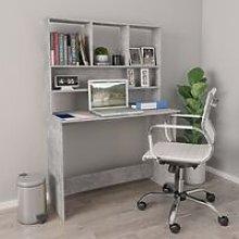 Desk with Shelves Concrete Grey 110x45x157 cm