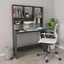 Desk with Shelves Grey 110x45x157 cm Chipboard -