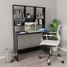 Desk with Shelves High Gloss Black 110x45x157 cm