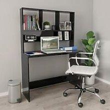 Desk with Shelves High Gloss Black 110x45x157 cm