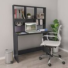 Desk with Shelves High Gloss Grey 110x45x157 cm