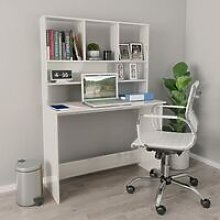 Desk with Shelves High Gloss White 110x45x157 cm