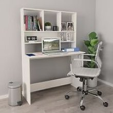 Desk with Shelves White 110x45x157 cm Chipboard