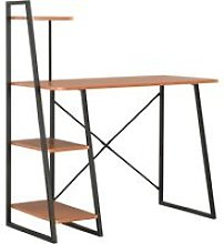 Desk with Shelving Unit Black and Brown