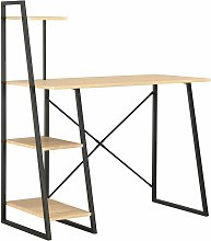 Desk with Shelving Unit Black and Oak 102x50x117
