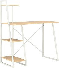 Desk with Shelving Unit White and Oak 102x50x117