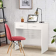 Desk with Two Drawers Wooden Computer Desk