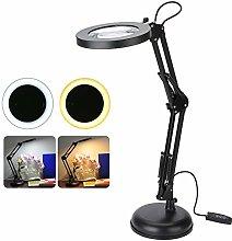 Desktop LED Magnifier Lamp, 5xMagnifying Lighted